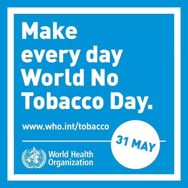 "The focus of World No Tobacco Day 2019 is on ""tobacco and lung health."" Every year, on 31 May, the World Health Organization (WHO) and global partners celebrate World No Tobacco Day (WNTD). The annual campaign is an opportunity to raise awareness on the harmful and deadly effects of tobacco use and second-hand smoke exposure, and to discourage the use of tobacco in any form.. 2019, world no tobacco day, вооз, всесвітній день без тютюну, всесвітній день здоров'я, здоров'я, паління, тютюн і здоров'я легенів, тютюнопаління"